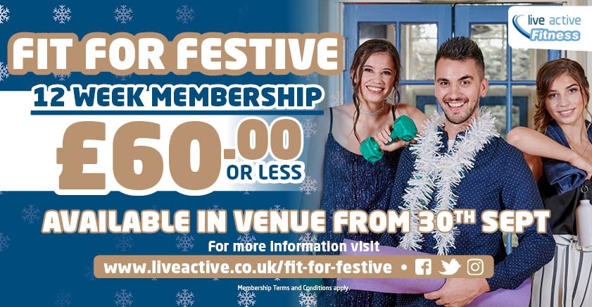 Fit For Festive 2019 at Live Active Leisure - 12 week gym, swim and class membership for £60