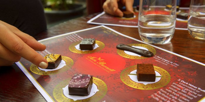 Online guided Chocolate Tasting Flight recorded by Master Chocolatier Iain Burnett.  Order the 5 award-winning Velvet Truffles, tasting mats and audio-link in advance for delivery worldwide. £21.95 per 2 people.
