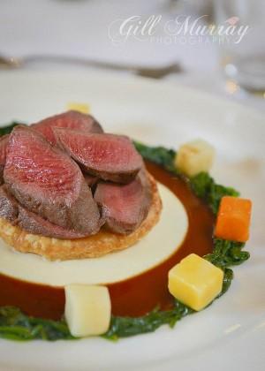 Perthshire Red Deer Loin, Shallot Tart Tatin, Cauliflower Puree, Port, Juniper Berry and Thyme Sauce