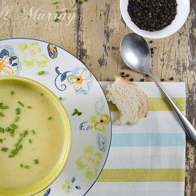 A big bowl of pear and parsnip soup