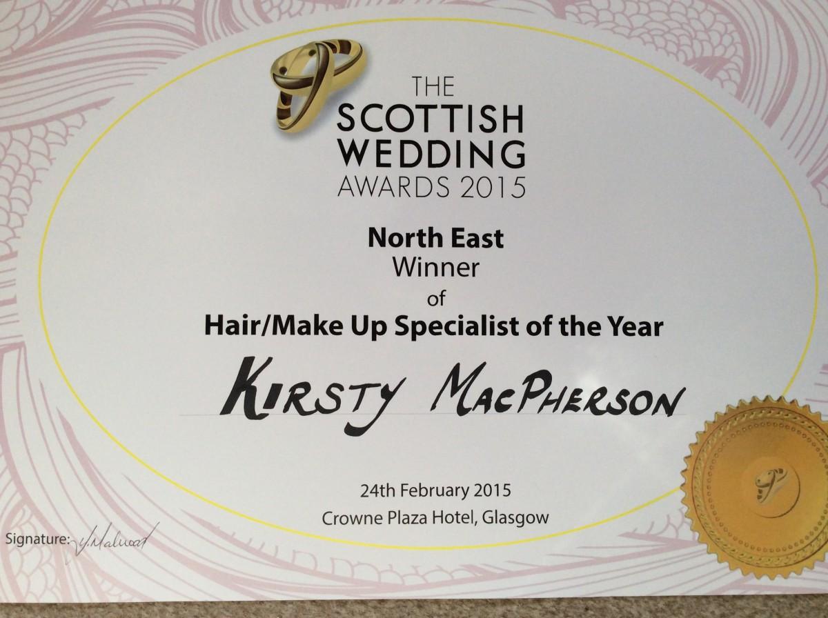 KIRSTY Mac winning certificate