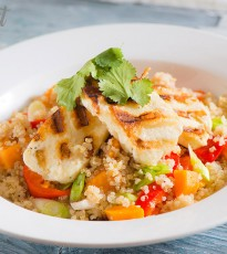 Warm Quinoa Salad Served with Chargrilled Halloumi