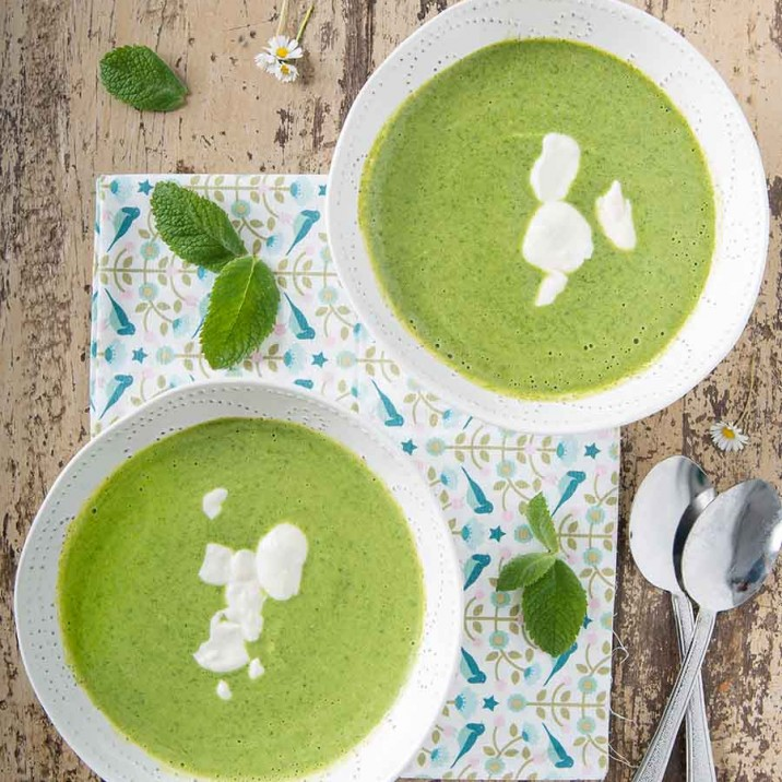 Watercress Soup with a Creamy Swirl