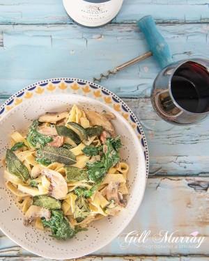 Mushroom, Spinach and Pancetta Tagliatelle