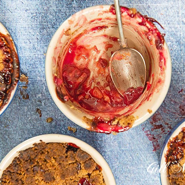 Delicious Plum Cinnamon and Red Wine Crumble to warm you through the winter months.