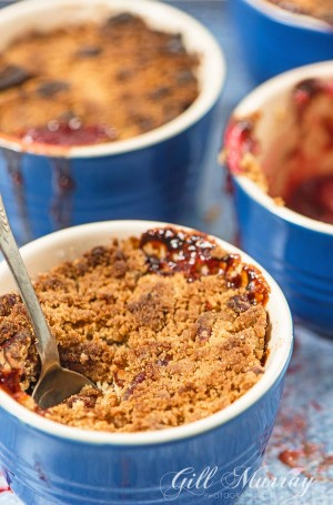 Plum Cinnamon and Red Wine Crumble Spoon