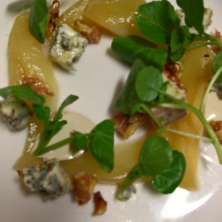 Pear, Strathdon Blue, walnut and watercress. Lunch in Perthshire is never dull!