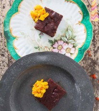 Beetroot Brownies with Mango Chilli