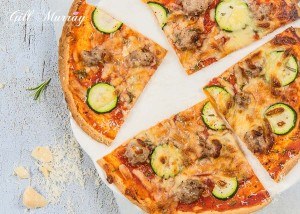 Sausage, Courgette & Rosemary Tortilla Style Pizza