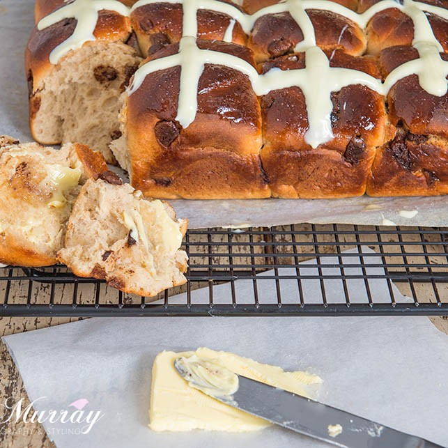 Choc Chip Hot Cross Buns - Buns on Cooling Rack