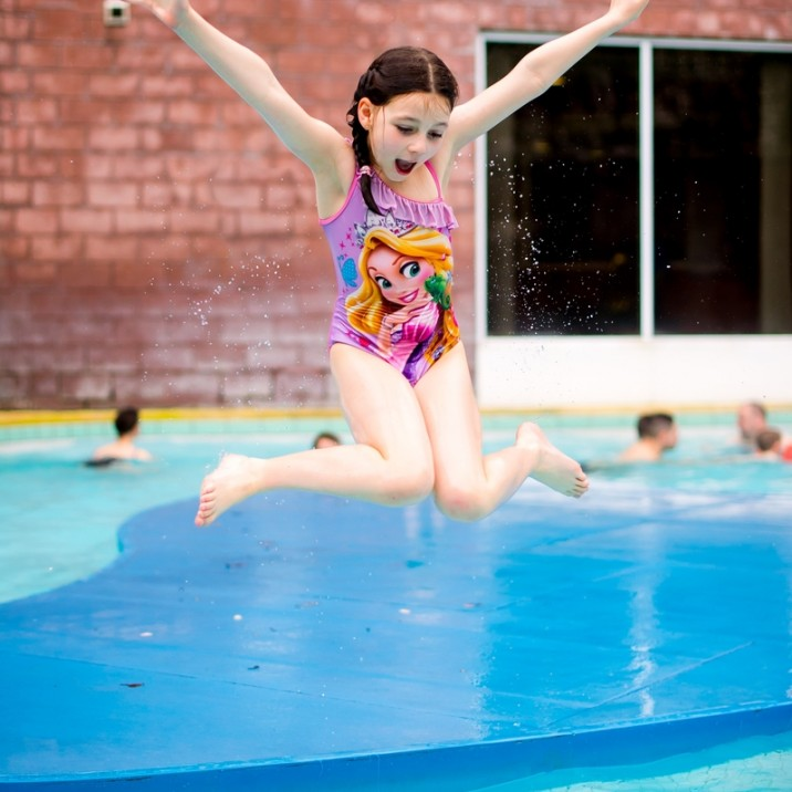 It's so much fun to leap into the outdoor pool!