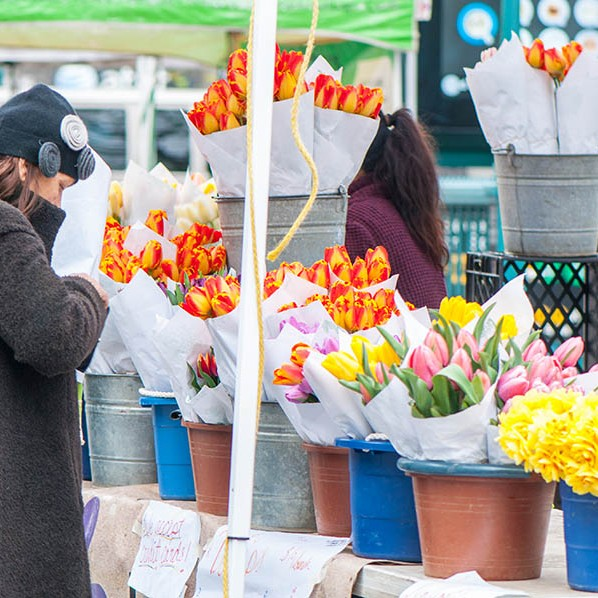 Bright and beautiful fresh flowers at the New York market.