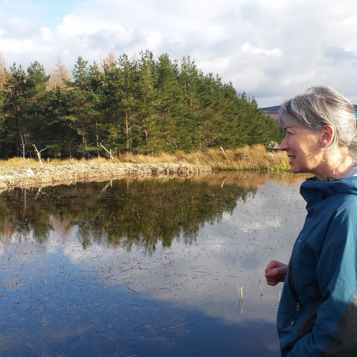 Sue listened intently to the sounds of the frogs in the still, dark pond.