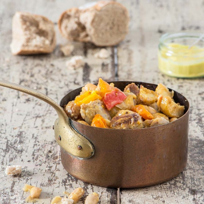 This spring sausage, pepper and bean casserole is perfect served with crusty bread.