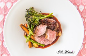 Breast of Duck, Spring Vegetables, Pan Fried Maris Peer Potatoes with a Red Wine Sauce