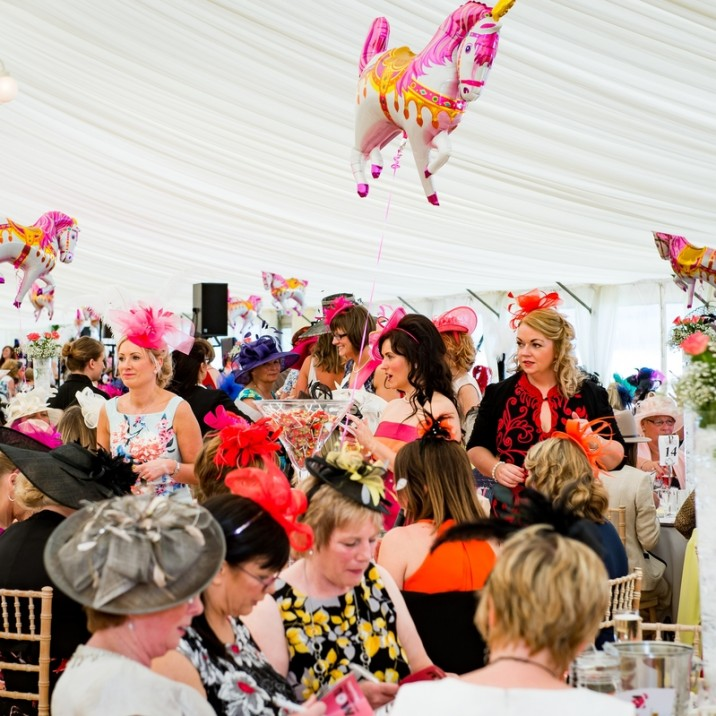 the tent was busy with people having a nice meal and making a real day of it at the 2016 Ladies day at Perth Racecourse.