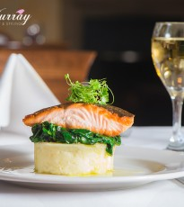 Oven Baked Salmon Fillet with Mashed Potato and Wilted Spinach