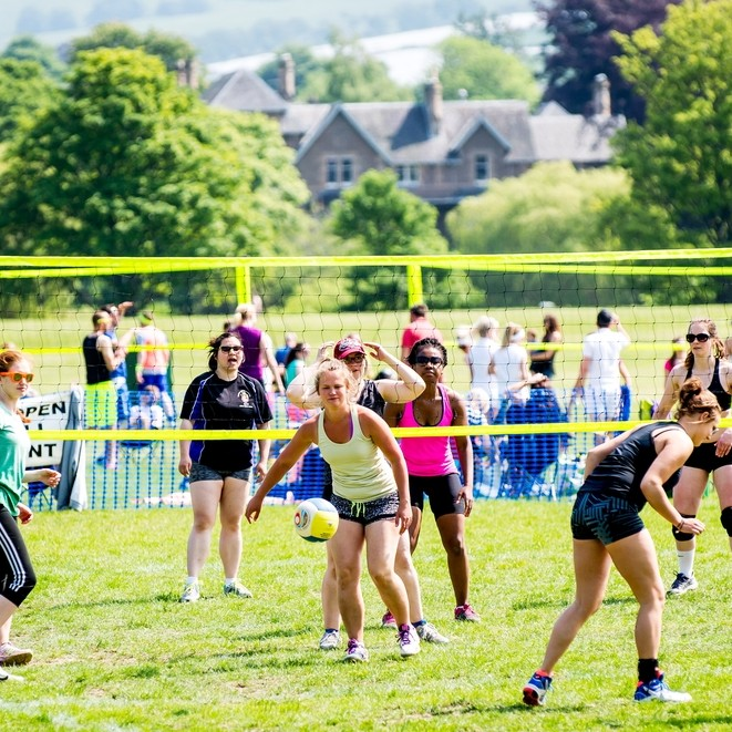 The sun was shining at the Scottish Volleyball Championships 2016 on the North Inch in Perth, UK.