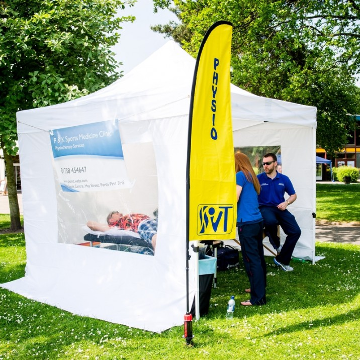 The physio tent on the North Inch was on hand for any aches and pains for the players and participants.