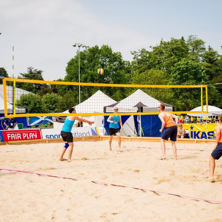 The North Inch in Perth had been turned into a beach for the Scottish Open Volleyball Championships. It looked amazing and the sun was shining.