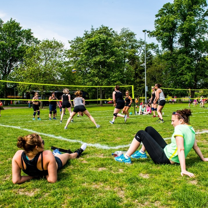 People were lazing in the sun to watch the Scottish Open Volleyball Championships at the North Inch in Perth.