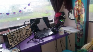 PODCAST 9 - Everything set up for podcast in caravan