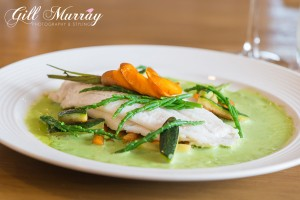 Baked Lemon Sole with Wild Garlic Veloute and Baby Vegetables