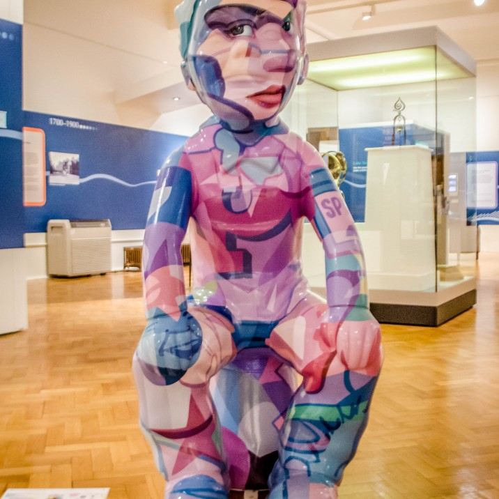 This Oor Wulllie that is exhibited in Perth Musuem and Art Gallery features bits of Wullie himself, allusions to other cartoon of a similar era (look for popeye!) and a perspective illusion which shows the authoritative face of his mother when viewed from the right angle!