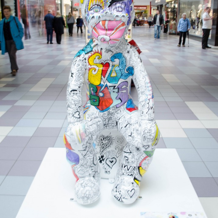 This ScotSpirit Wullie was designed by Vanessa Gibson.  Vanessa teaches art and design in a school in Fife. Her Wullie is covered in a poem that sums him up perfectly!