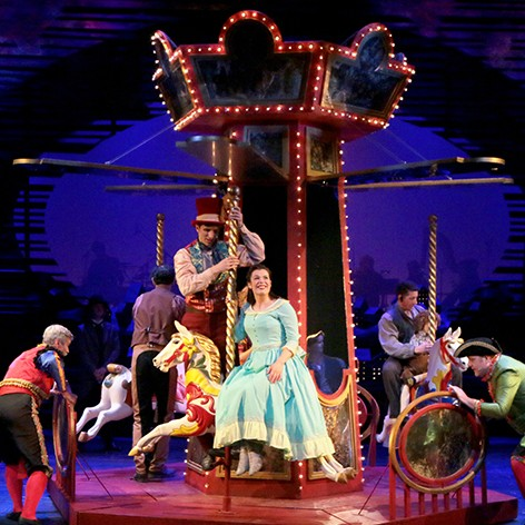 The set is spectacular for the well known and fantastic Oscar Hammerstein II broadway show, Carousel. See it at Pitlochry Festival Theatre this Summer 2016.