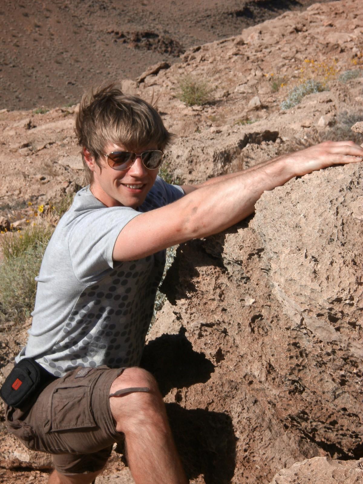 Stephen Clarke climbing