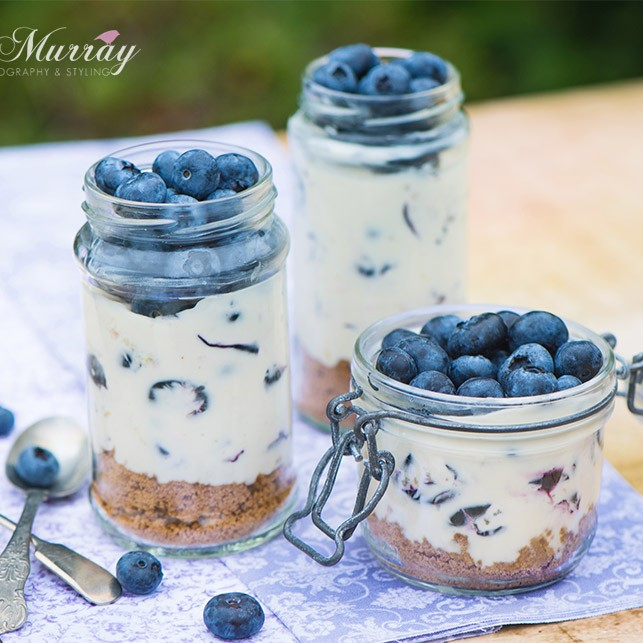 This weeks #smallcityrecipe is a deliciously fruity blueberry cheesecake in a jar.  Layer it up in the jar and serve!