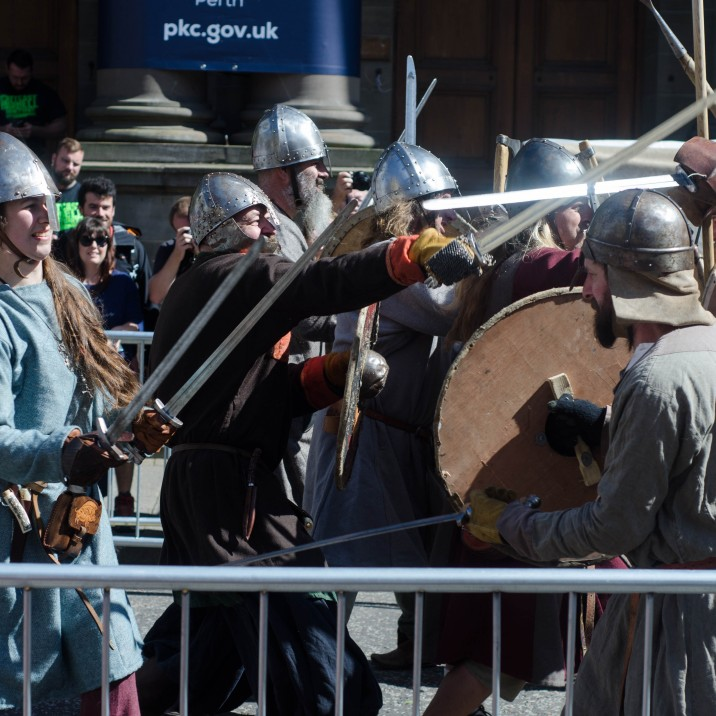 The vikings were battling it out in Perth City Centre as part of the Treaty of Perth celebrations.