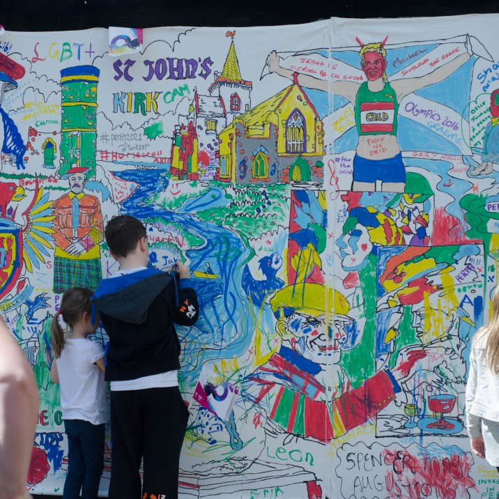 Everyone was wanting to leave their mark on the mural around the City Hall as part of the Perth 2021 City of Culture bid.