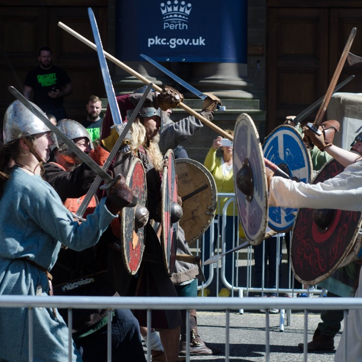 The sound of clashing metal as a sword fight ensued in the streets of Perth between some rowdy viking soldiers!