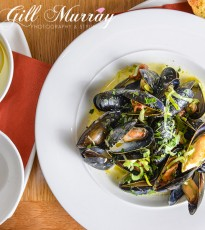 Shetland Mussels with Leek, Smokey Bacon & Cider