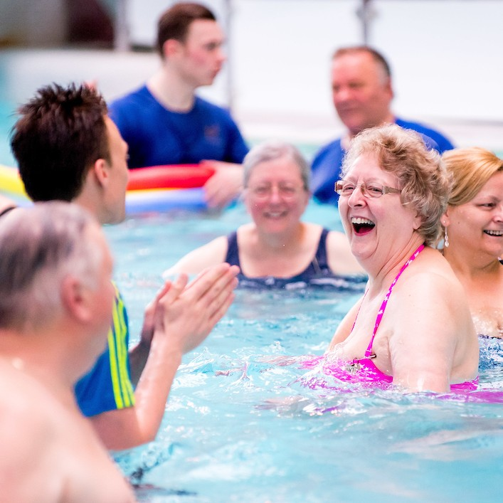 The GP referral patients at Live Active Lesire enjoy exercise in the Pool.  This class is invaluable to people that have been diagnosed with a debilitating illness that exercise can help alleviate the pain and symptoms.  These classes have had outstanding success and really help to improve the lives of many.
