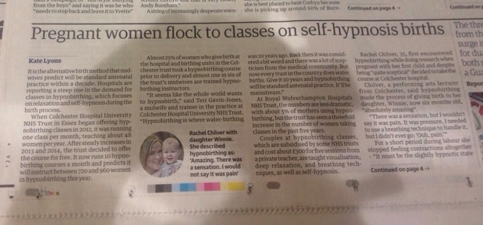 HypnoBirthing newspaper article