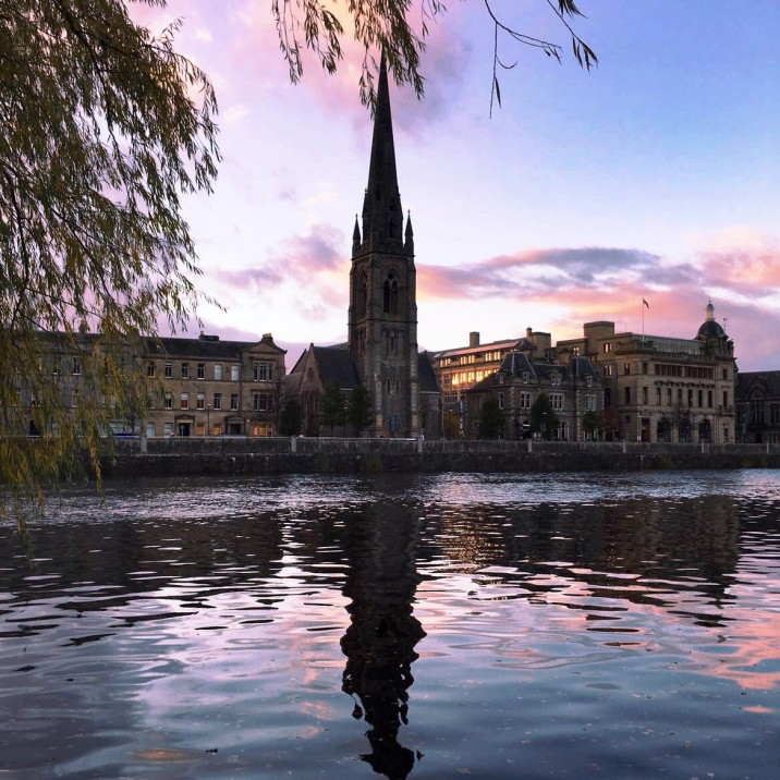 Ian Black took this beautiful picture of St John's kirk on Tay Street reflected in the Tay with the silvery, blue and violet sky in the water.