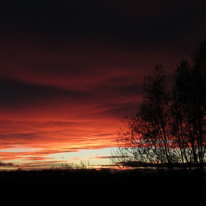 This picture by Gordon Muir shows the red firey sky perfectly.