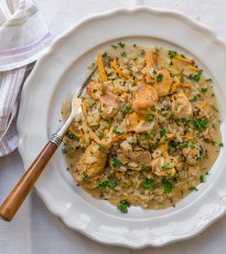 Chanterelle Risotto with Truffle Oil