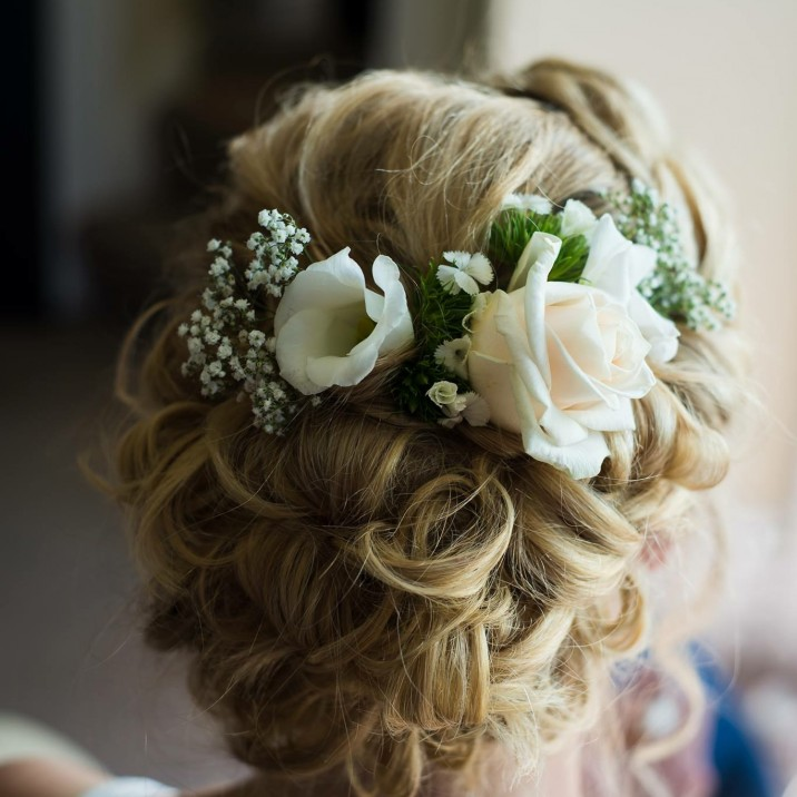 Kirsty MacPherson often uses real flowers to add the finishing touch to bridal hair.