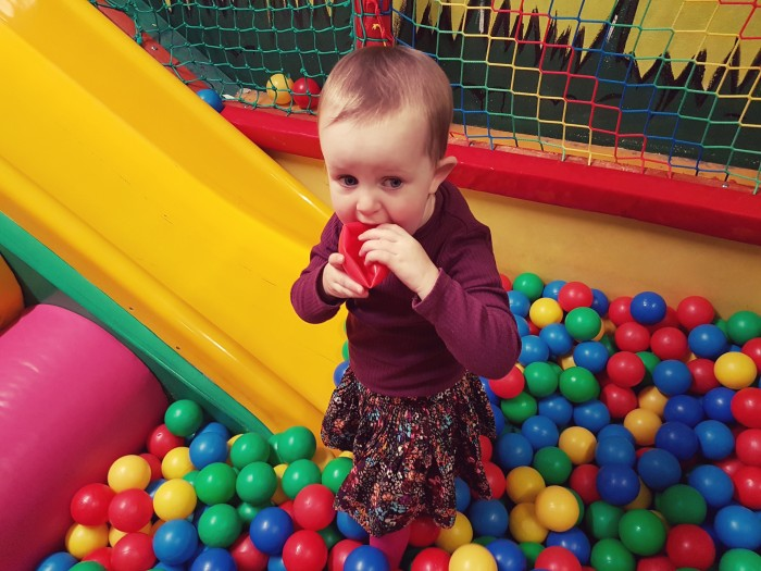 Bells Soft Play ball in mouth