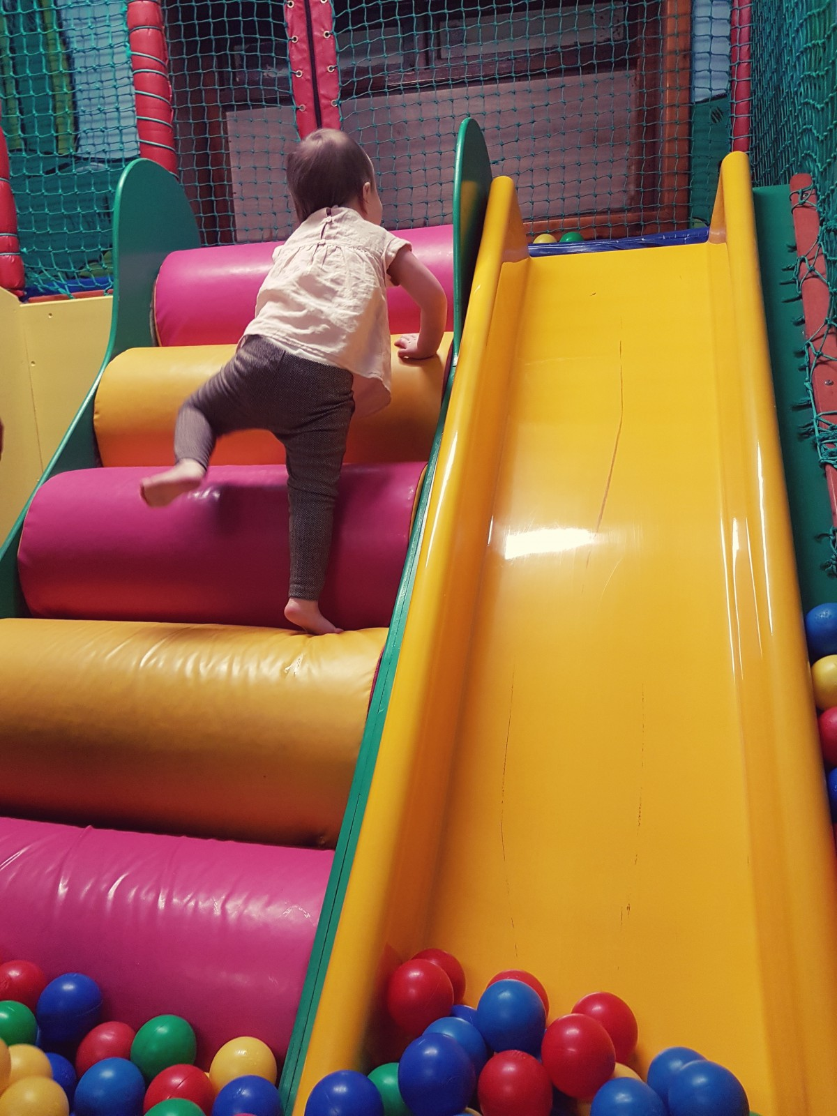 Bells Soft Play climbing up steps