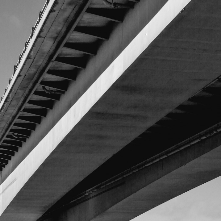 The Friarton bridge in black and white and shot from below.