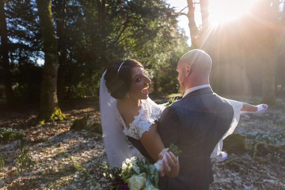 Scone Palace Weddings groom lifting bride