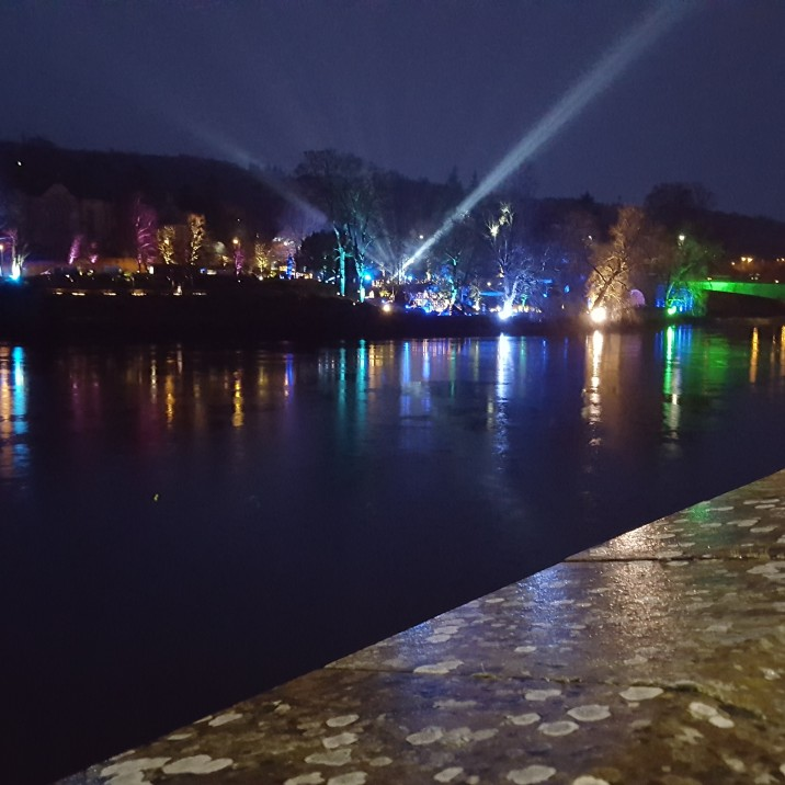 The River Tay lit up by the spectacle of Perth's Norie Miller Walk Light Night event.