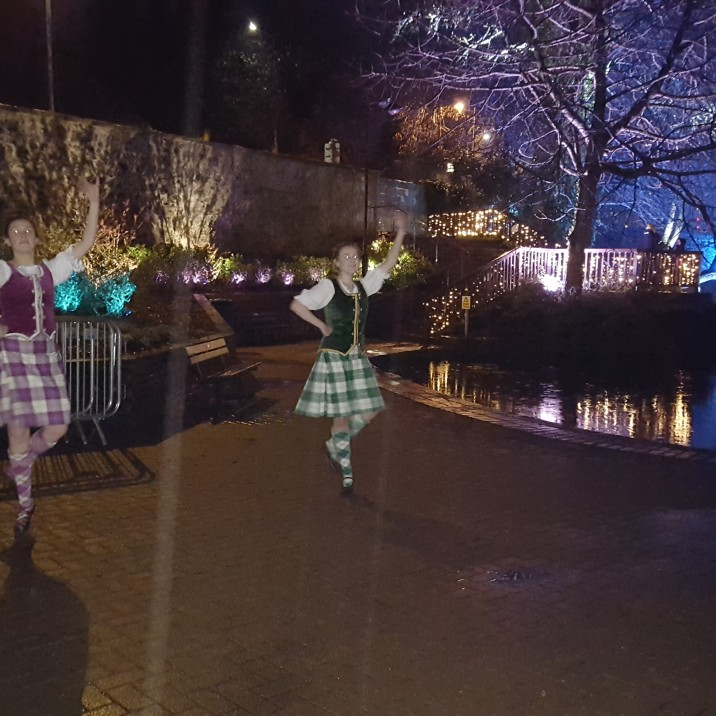 The Highland Dancers welcome in visitors to the Norie Miller Walk Light Night Event.