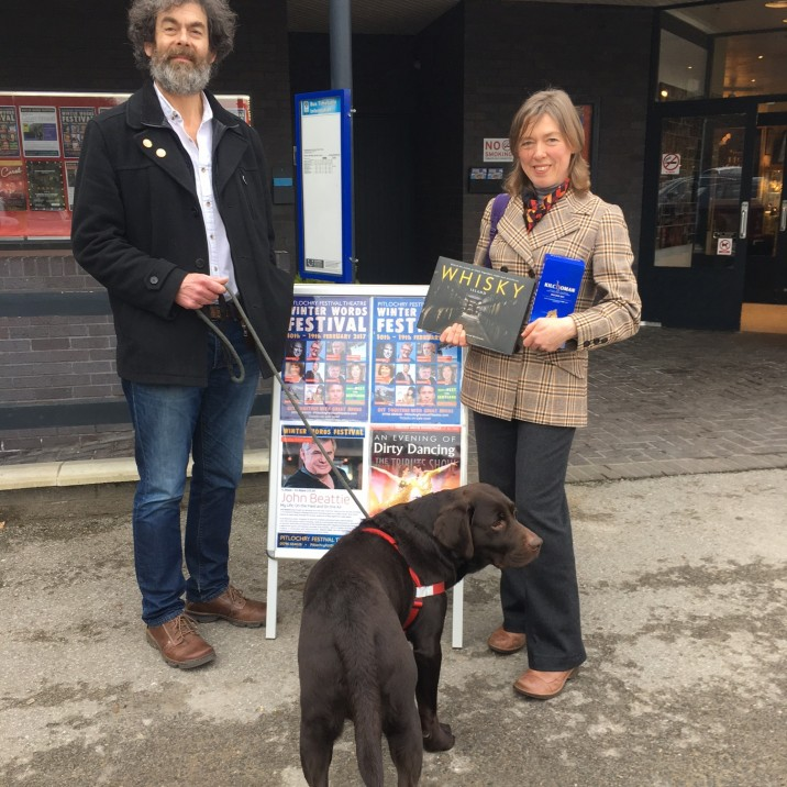 Actor Dougal Lee with author Fiona Rintoul and her gorgeous chocolate lab!