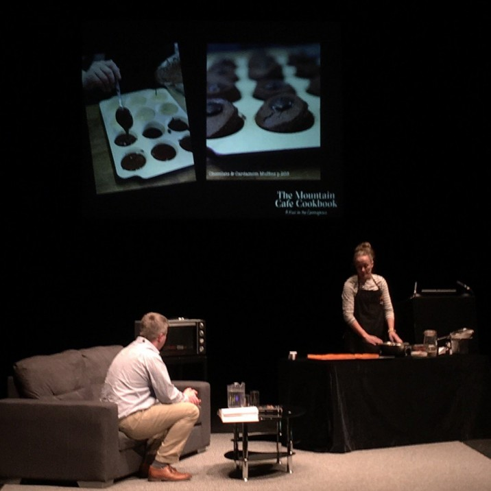 Kirsten Gilmour from the Mountain Cafe Aviemore rustling up some of her famous sweet creations on the stage!